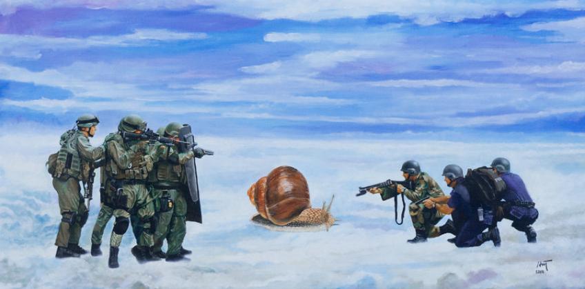 Nguyen Manh Hung ©, An illegal alien, acrylique sur toile, 100 cm x 200 cm, 2014