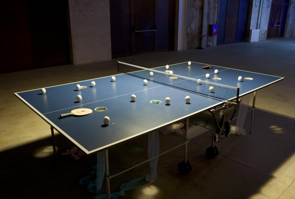 Surasi © Kusolwong, Ping-Pong Tables,  Site-specific installation, HangarBicocca Foundation, 2011, Image Courtesy © Fondazione Hangar Bicocca, copyright Agostino Osio