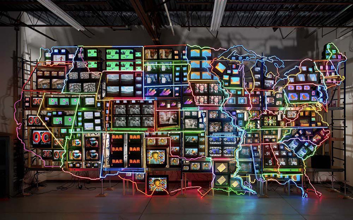 Nam June Paik © Electronic Super Highway, Continental US, Alaska, Hawaii, 1995