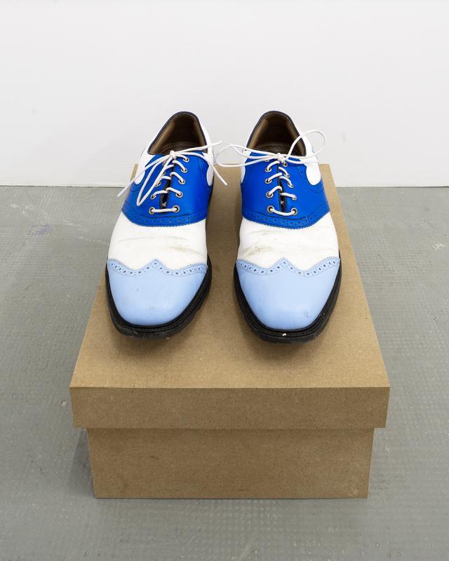 Rirkrit Tiravanija © Untitled (rrose selavy), chaussures de golf customisées, boîte en aggloméré, 15.20 x 27.90 x 35.60 cm, 2011