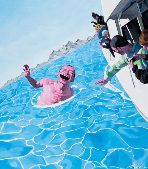 Yue Minjun © Bystander, huile sur toile, 2011, collection de l'artiste, Pékin