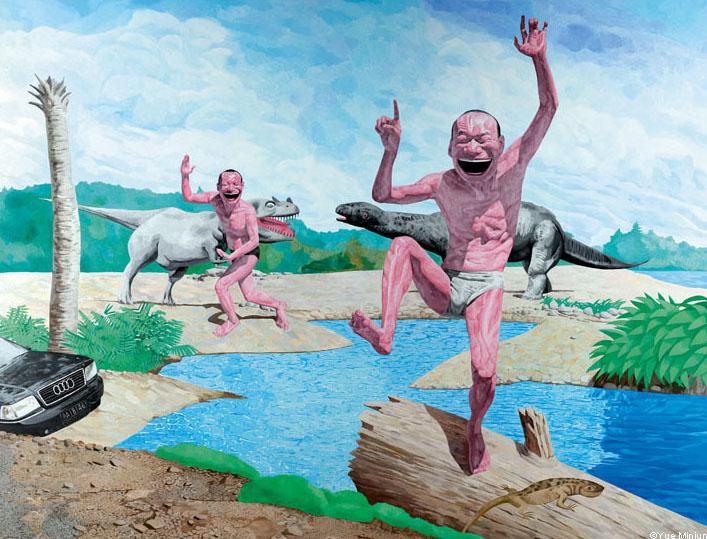 Yue Minjun © AD 3009, huile sur toile, 2008, collection de l'artiste, Pékin