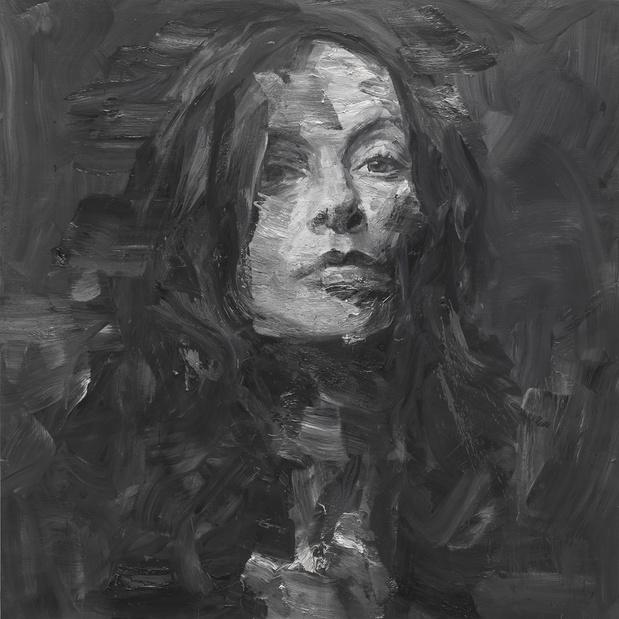 Yan Pei-Ming © Portrait d'Isabelle Huppert I, huile sur toile, 200 × 200 cm, 2013, photographie : André Morin