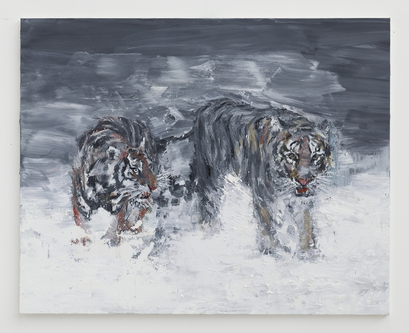 Yan Pei-Ming © Wild Game: Second way of the tigers, huile sur toile, 200 x 250 cm, 2014