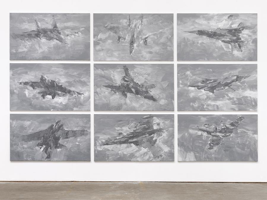 Yan Pei-Ming © L'Autre Oiseau, huile sur toile, 9 pei,tures, 114 x 195 cm chacune, 2013