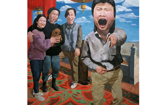 Yue Minjun ©  On the Rostrum of Tiananmen, huile sur toile, 1992, collection Herman  skandar, Jakarta