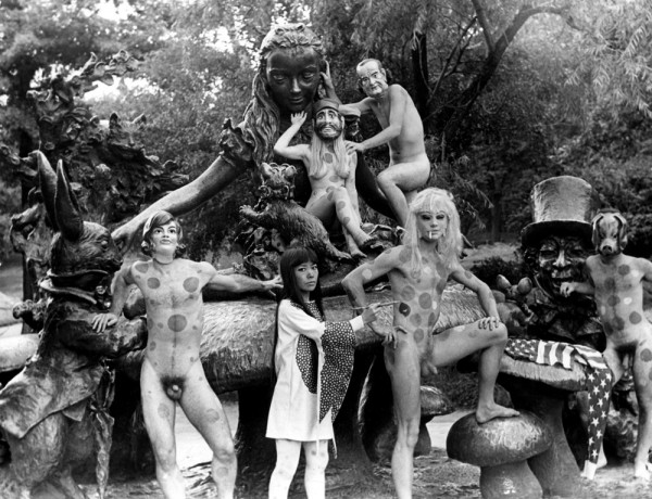 Yayoi Kusama in The Anatomic Explosion happening in front of Alice in Wonderland statue in Central Park, NYC, 1968