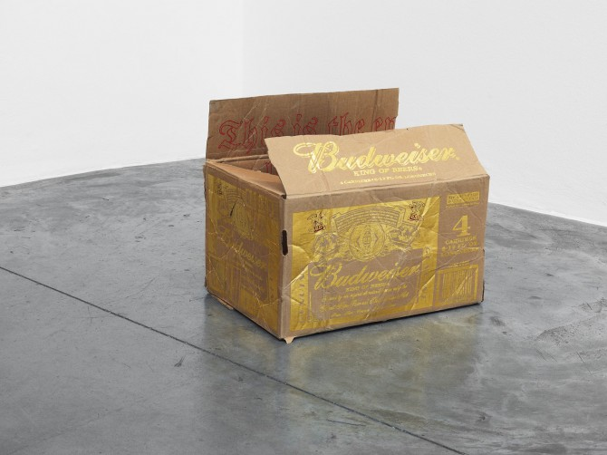 The End, 2014 Ink drawing and gold leaf on cardboard Budweiser box 40 × 40 × 27 cm | 15 11/16 × 15 11/16 × 10 ⅝ inches