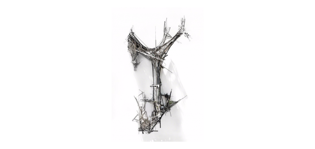 Lee Bul © Untitled (sculpture M1), 2013, Polyurethane panel, stainless- steel, aluminum and acrylic rods, glass and acrylic mirror on stainless-steel armature, 203 × 144 × 77 cm