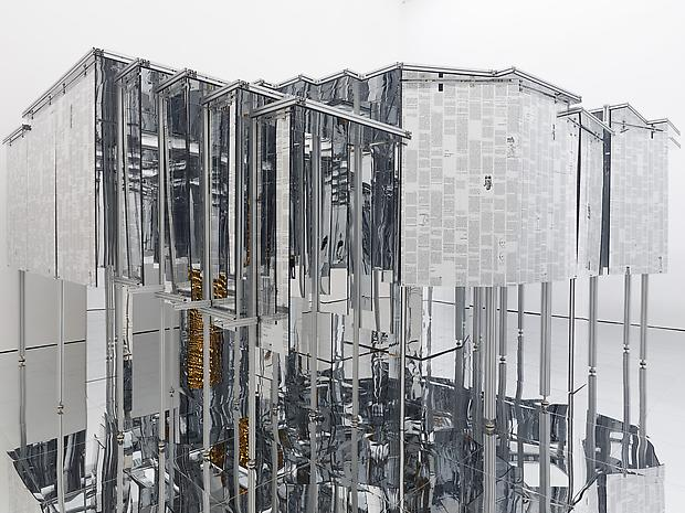 Lee Bul © Via Negativa II, 2014 polycarbonate sheet, aluminum frame, acrylic and polycarbonate mirrors, steel, stainless-steel, mirror, two-way mirror, LED lighting, silkscreen ink 270 x 520 x 700 cm